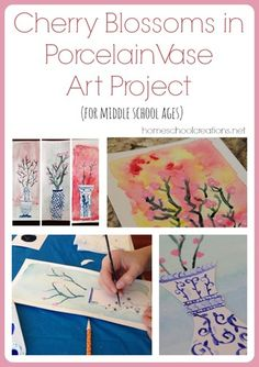 Cherry blossoms in white and blue porcelain vase art project from Homeschool Creations