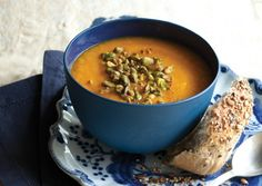 Curried carrot soup with roasted pistachios