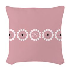 Custom Divine Retro Style Pink White Woven Throw Pillow, editable monogram, images, #pink #personalized #pillow