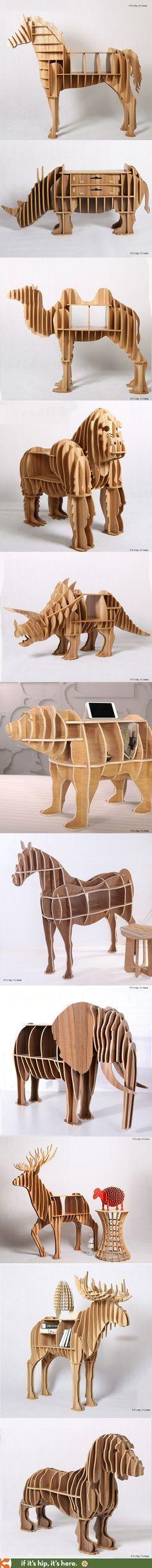 Muebles en forma de animales, ensamblados por medio de caja y espiga. Diseñador desconocido. -AK