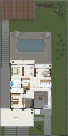 Planta de Sobrado - 4 Quartos - 340.2m² - Monte Sua Casa