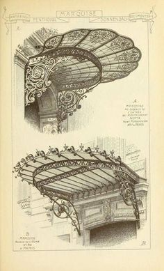 Materials and documents of architecture - Art Nouveau Classic Architecture, Architecture Drawings, Beautiful Architecture, Architecture Details, Historical Architecture, Art Nouveau Arquitectura, Architectural Elements, Art Reference, Illustration