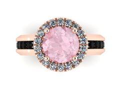 Black Diamond Morganite Engagement Ring 14K Rose Gold Ring with 7mm Round Peachy Morganite Center - V1032 on Etsy, $1,335.00