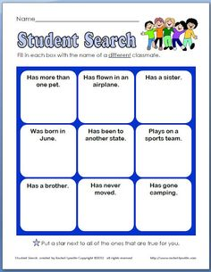 Free Back to School Ice Breaker for grades 2-3. Want to figure out how to do this w/iPad - take a picture of the student who fits in each category!