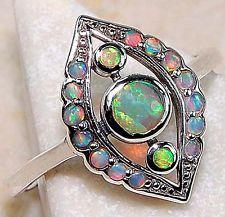Eleganter Ring mit Echte Opale 925 Solid Sterlingsilber Viktorianischen Stil