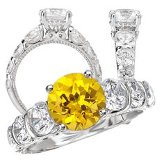 *18k created 7.5mm round yellow sapphire engagement ring with natural diamonds