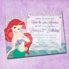 Yes! found the PERFECT one for A! Ariel the Little Mermaid Birthday Invitation by FreshInkStationery, $1.40
