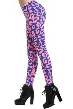 "ROMWE | ""Rose Leopard"" Blue Leggings, The Latest Street Fashion #Romwe"
