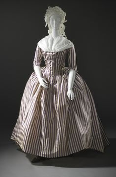 Woman's Robe à l'Anglaise: ca. 1785-1790, French, silk twill and silk plain-weave stripes.