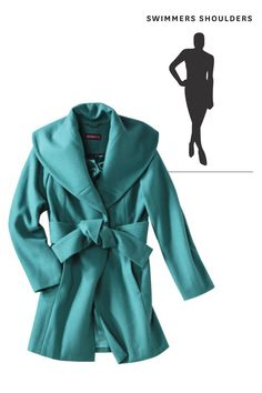 Coats To Flatter: Swimmer's Shoulders — Forgo any structured, tailored options that may not comfortably fit your strong-shouldered shape. Select a softer shoulder and oversized lapel.They'll flow gracefully instead of straining across your delts.