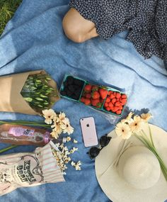 Picnic flat lay - rose, blue basket of fruit, jewelry, sunglasses, maybe a hat or something?
