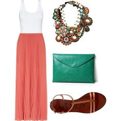 Coral maxi with teal accent