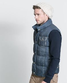 PRINTED DENIM PUFFER VEST - Jackets - MAN | ZARA United States