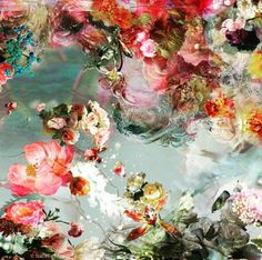 Isabelle Menin - Echo Flowers interact w/ expressive backgrounds on a reflective surface. Art Floral, Floral Flowers, Illustration Art, Illustrations, Claude Monet, Art Design, Oeuvre D'art, Art Inspo, Painting & Drawing