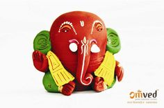 Vighnaharta eco-friendly Ganpati idol - handcrafted using pure (lead-free) earthen or natural terracotta. Happy Ganesh Chaturthi. Go Green. Celebrate consciously.