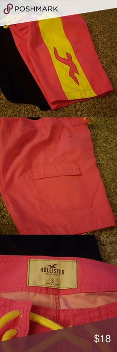 Hollister swim trunks. These have a 2 color look with a large side pocket and pink logo. Hollister Swim Swim Trunks