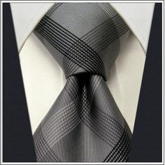 gray demask ties for men | Checked Black Dark Gray Plaids Men's Ties Neckties 100% Silk Jacquard ...