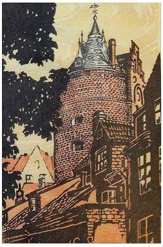 ✨ Aleksandrs Štrombergs / Alexander von Stromberg, Latvian/German (1892-1956) - Pulverturm Riga 1924. Farbholzschnitt ::: Baron Aleksandrs Voldemārs fon Štrombergs, Pulvera tornis