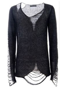 Distressed sweater. #fashion #diy