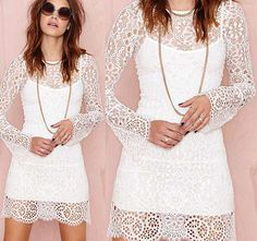 Sexy Womens Long Sleeve Embroidery Lace Crochet Chiffon Loose Casual Dress new