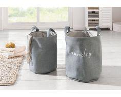 Textilný kôš na prádlo Laundry - šedý väčší