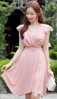 StyleOnme_Asymmetrical Hem Ruffle Sleeve V-Neck Dress #pink #dress #koreanfashion #kstyle #kfashion #datelook #feminine #elegant #summertrend