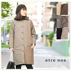 【etre nne エトレンヌ】ダンプ 中綿 ノーカラー コート(1043300)