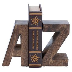 "$38.95 - 8"" H x 5"" W x 4"" D each - Keep your favorite reads in place with this alphabet-inspired bookend. Product: Set of 2 bookendsConstruction Mat..."