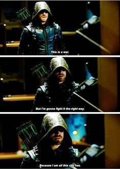 """""""This is a war. But I'm gonna fight it the right way"""" - Oliver Queen Arrow Felicity, Arrow Cw, Arrow Oliver, Team Arrow, Supergirl Dc, Supergirl And Flash, Arrow Dc Comics, Arrow Memes, Dc Tv Shows"""