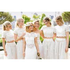 2 Pieces Short Sleeves Lace Pretty Long Wedding Bridesmaid Dresses, WG396