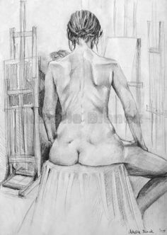 Digital picture,Fine art,Drawing,Pencil on paper,Nude,Model,Realistic,Academic,Young girl,Sitting on a chair,Shades of gray,Gray by BienekArt on Etsy