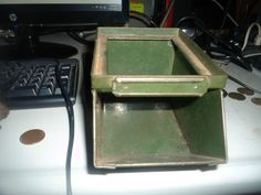 vintage industrial storage  bin havy duty green stackbin no 00 #stackbin