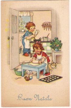 cartolina natalizia con bambine