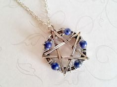 Pentacle Pendant, Lapis Lazuli, Lapis Jewelry, Wiccan Necklace, Pagan Jewelry…