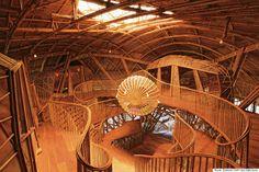 interior of the Soneva Kiri resort children's library, Thailand, constructed from bamboo