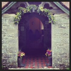 Gwenddwr Church. Late September, seasonal, colourful blooms from Chloe at http://www.bareblooms.co.uk/