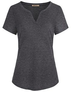 8bb881018b7ee Miusey Women Shirts for Work Ladies V Neck Short Sleeve Casual Henley T  Shirt Tunic Blouses Tops Space Dye Red XXLarge *** See this great product.
