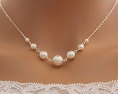 Pearl necklace Bridal wedding jewelry elegant simple by untie, $29.00