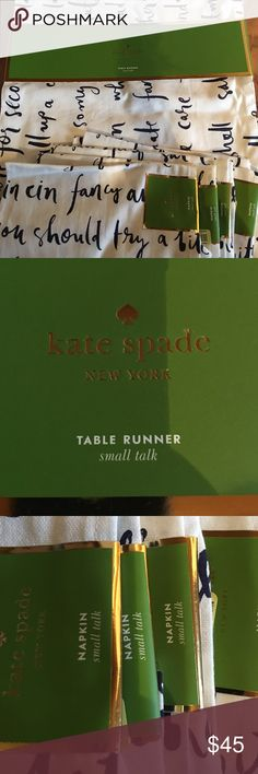 "Kate Spade NWT table runner and 4 napkins NWT Kate Spade ""small talk"" table runner 15"" x 72"" and 4 matching napkins. Writing is French Navy kate spade Other"