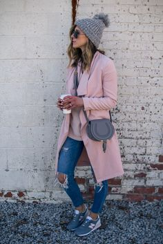 This outfit focuses on pink with the jean bottoms. The accessories are mainly a pink/blush colour paired with a grey purse that keep this simple outfit balanced.