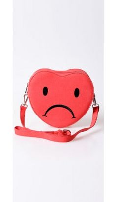Valfre Red Leatherette Heartbreaker Sad Face Crossbody Bag