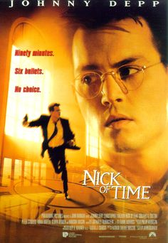"Nick of Time - 1995  The action in the movie happened in ""real"" time. Five minutes of movie time was five minutes from the deadline Johnny Depp had to meet.Exciting movie."
