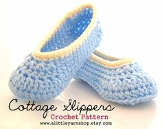 Cottage Slippers Crochet Pattern in Ladies Sizes. $5.00, via Etsy.