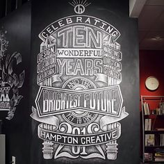 Chalk Lettering Made To Resemble Blueprints And Mechanical Drawings