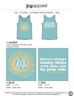 JCG Apparel : Custom Printed Apparel : Alpha Chi Omega Sunshine Recruitment T-Shirt #alphachiomega #axo #sunshine #recruitment #sunnyskies