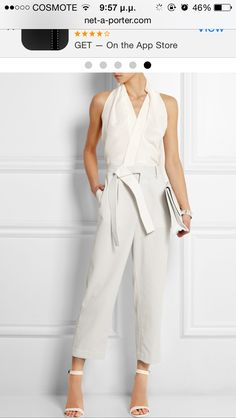 3.1 Phillip Lim's softly draped jumpsuit is crafted from floaty silk-crepe and waffle-knit cotton in a chic neutral colorway. The asymmetric judo belt embodies the collection's sculptural aesthetic, while the wide satin-twill straps add definition to the relaxed fit.
