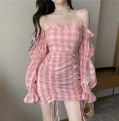 Korean Fashion Dress, Ulzzang Fashion, Kpop Fashion Outfits, Girls Fashion Clothes, Pink Outfits, Cute Casual Outfits, Pretty Outfits, Pretty Dresses, Dress Outfits