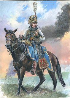 Officier du 5e Hussards d'après A. Yéjov; dessin publié dans Tradition N°266.