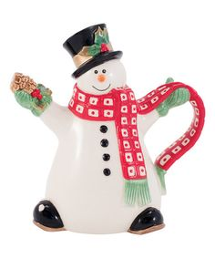 Look at this #zulilyfind! Holly Berry Snowman Mini Pitcher #zulilyfinds