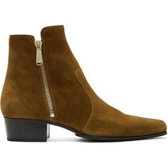 #SSENSE - #Balmain Balmain Brown Suede Anthos Boots - AdoreWe.com
